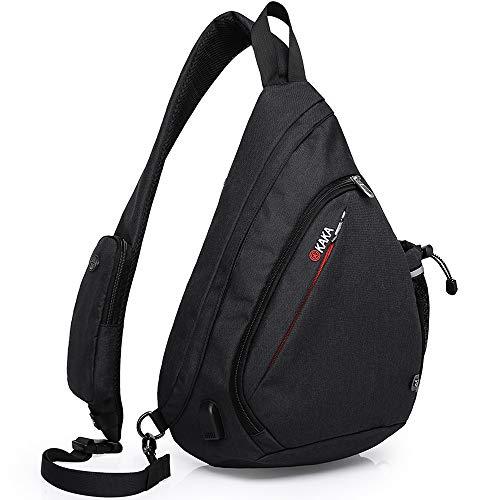 KAKA Sling Bag, Crossbody Backpack Canvas Waterproof Daypack Casual Shoulder Bag Traveling Hiking Camping for Men and Women (Larger one)