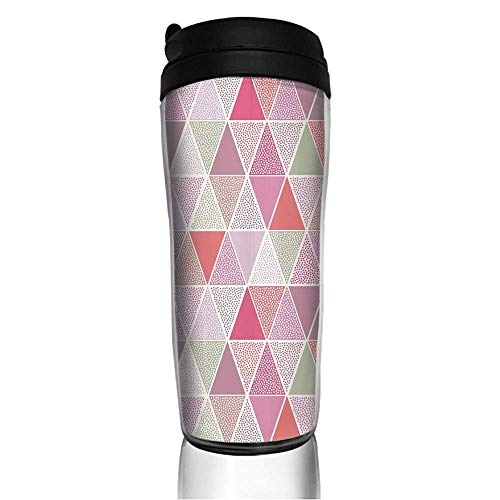 Stainless Steel Insulated Coffee Travel Mug,Triangles with Polka Dots Octagon Shape Pattern,Spill Proof Flip Lid Insulated Coffee cup Keeps Hot or Cold 11.8oz(350 ml) Customizable printing