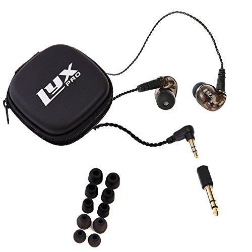 LyxPro ERP-10 in-Ear Monitors with Professional, Universal Fit Earphones for Musicians - Detachable Cables, Carrying Case & 6 Pairs of Tips for Studio or Stage