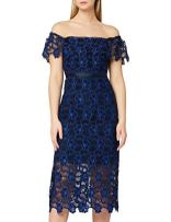 TRUTH-FABLE-Womens-Two-Tone-Lace-Bardot-Shift-Dress-Party-Dress-Multicolour