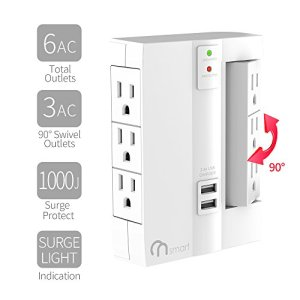 ON 6-Outlet Wall Tap Surge Protector- Top Power Strip w/ 6 Power Outlets + 2 USB Ports- Portable Wall-Mount Socket – Best Power Surge Protection & Smart Charging S For Home, The Office, Travel- White
