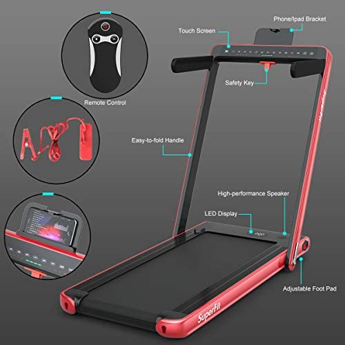 Goplus 2 in 1 Folding Treadmill with Dual Display, 2.25HP Under Desk Electric Pad Treadmill, Installation-Free, Bluetooth Speaker, Remote Control, Walking Jogging Machine for Home/Office Use 9