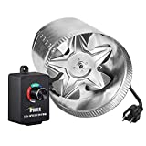 iPower GLFANXBOOSTER8CTRL 8 Inch 420 CFM Booster Fan Inline Duct Vent Variable Speed Controller Adjuster, HVAC Blowers, Silver