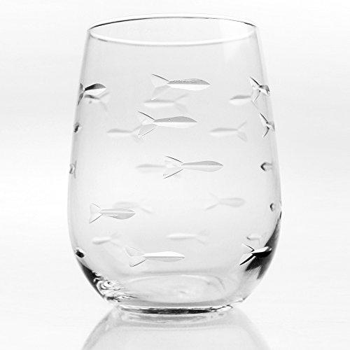 School of Fish Stemless Wine Tumbler 17oz | Set of 4 Glasses | Rolf Glass