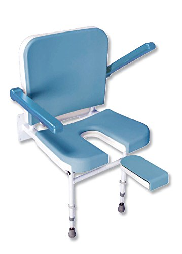 Solo U Shape Padded Fold Up Seat with Back and Arms - Height Adjustable - Wall Mounted