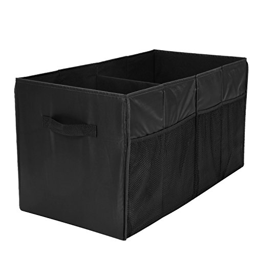 Trunk Organizer for Car with Two Handles and Side-Pockets, MaidMAX Collapsible SUV Storage Container with Two Large Compartments for Vehicle Pickup, Black, 25.5''13.5''13''