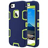 ULAK iPhone SE Case,iPhone 5S Case, iPhone 5 Case, Knox Armor Heavy Duty Shockproof Sport Rugged Drop Resistant Dustproof Protective Case Cover for Apple iPhone 5 5S SE-Yellow + Navy