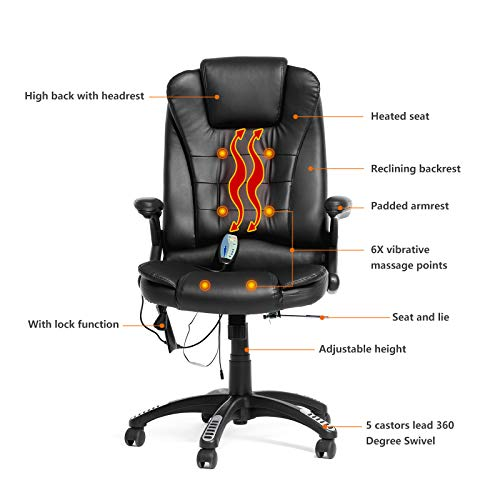 Mecor Heated Office Massage Chair-High-Back PU Leather Computer Chair w/360 Degree Adjustable Height & Armrest (Black)