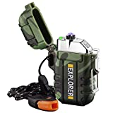 Plasma Lighter Waterproof Windproof Arc Lighter USB Rechargeable Electric Lighters with Emergency Whistle for Hiking,Outdoor,Adventure,Survival Tactical