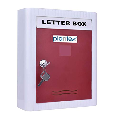 Plantex Virgin Plastic Wall Mount A4 Letter Box – Mail Box/Outdoor Mailboxes Home Decoration with Key Lock (Red & White)