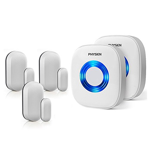 Physen Wireless Door/Window Sensor Chime kit with 3 Magnetic Door Sensors and 2 Receivers with Operating at 600-feet Range,4 Volume Levels with 52 Melodies Chimes for Home/Office/Stores