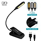 VAVOFO Clip On Book Light for Bed Kids, 7 LED Reading Light with 9-Level Warm Cool White Daylight, Eye Care Lamp with Power Indicator for Kindle Bookworms (Black)