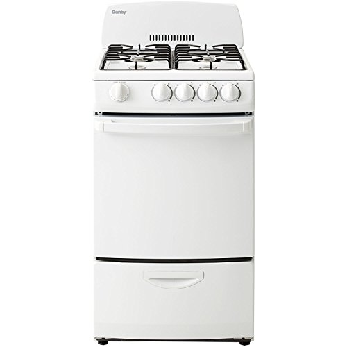 Danby DR200WGLP 20-Inch Gas Range with 4 Burners, Electronic Ignition and 2.4 Cubic Feet Oven, White