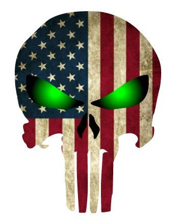 BOLDERGRAPHX 3012 Punisher Skull with American Flag and Glowing Green Eyes 5'x 4'