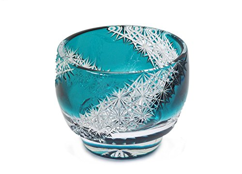 Ohba Glass Cut Glass 江戸切子 Edo Kiriko, Japanese Traditional Craft in Gift Box 光る宙 Milky Way (Green)