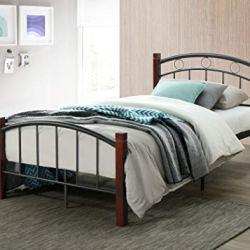 Hodedah Metal Queen, Mahogany Platform, Complete Bed