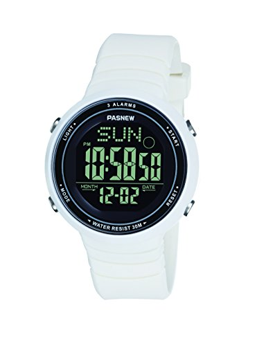 Pasnew-445G Sports Digital Watches Teenagers Girls Womens Watches Students Watch with Alarm Waterproof Night Light Multi-Functional Fashion Wrist Watches