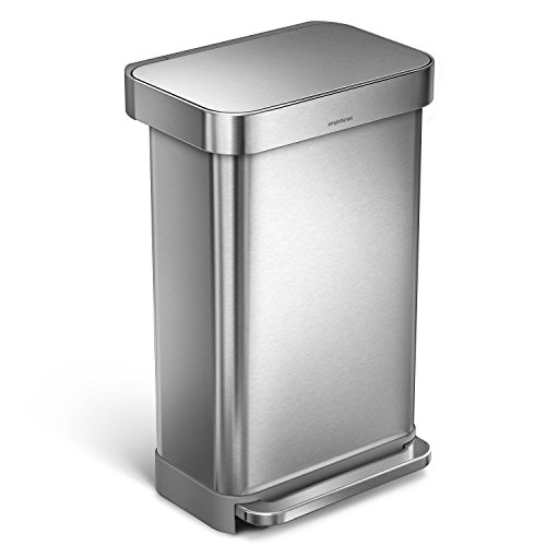 simplehuman 45 Liter / 12 Gallon Stainless Steel Rectangular Kitchen Step Trash Can with Liner Pocket, Brushed Stainless Steel