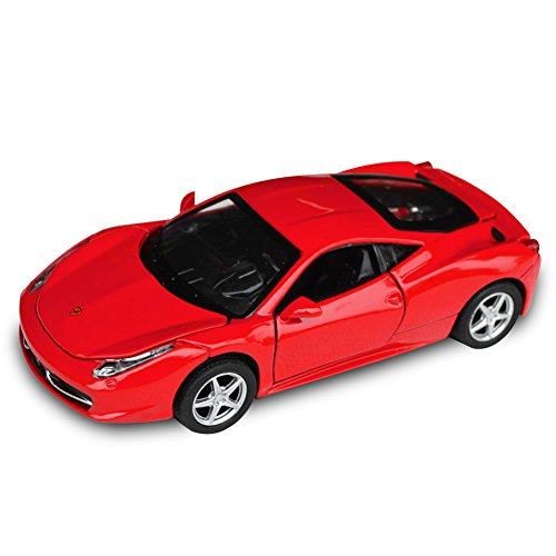 Tianmei FLL 458 Supercar Styling 1:32 Alloy Diecast Car Models Collection Kids Toys Decoration Ornaments Light and Sound (Red Color)