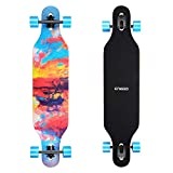 ENKEEO 40 Inch Drop-Through Longboard Skateboard Complete for Carving Downhill Cruising Freestyle Riding - Painting