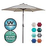 Abba Patio Outdoor Patio 9-Feet Aluminum Market Table Umbrella with Push Button Tilt and Crank, 9', Beige