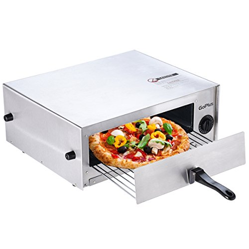 Giantex Pizza Bake Oven Kitchen Pizza Toaster Home Commercial Countertop Pizza Maker Stainless Steel Bake Pan with Handle and Removable Pizza Tray
