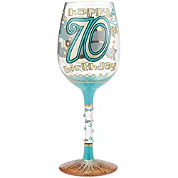 70th Birthday Wine Glass, Multicolor
