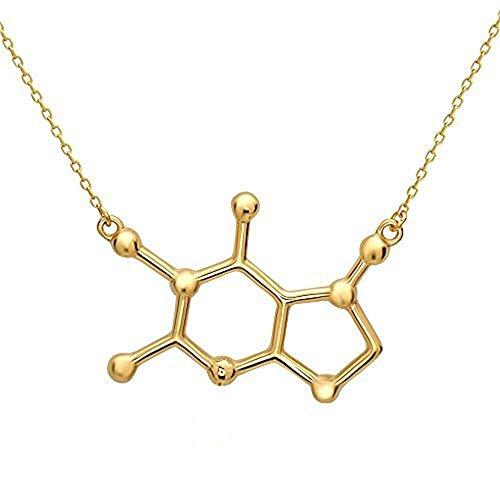 Caffeine Molecule Alike Cast Necklace (Gold Tone)