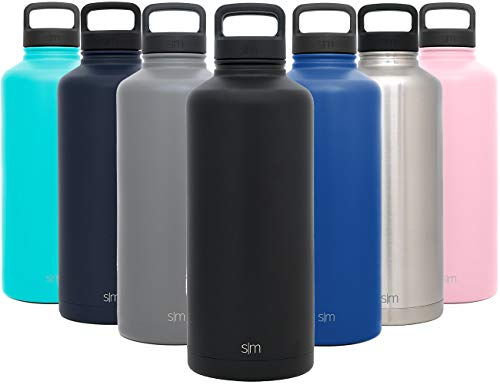 Simple Modern 84 Ounce Summit Water Bottle - Stainless Steel Half Gallon Flask +2 Lids - Wide Mouth Double Wall Vacuum Insulated Black Leakproof - Midnight Black