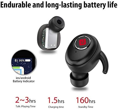 True Wireless Earbuds Bluetooth 5.0 Headphones, Sports in-Ear TWS Stereo Mini Headset w/Mic Extra Bass IPX5 Waterproof Low Latency Instant Pairing 15H Battery Charging Case Noise Cancelling Earphones 15