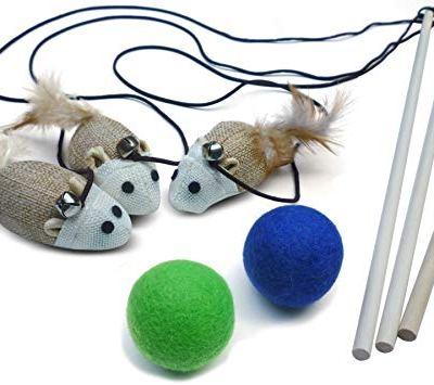 3 Cat Kitten Teaser Wand Toys, Plus 2 Wool Felt Ball Toys, Sisal...