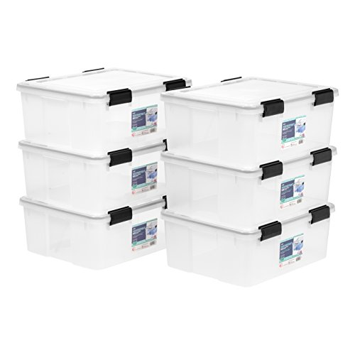IRIS 30 Quart WEATHERTIGHT Storage Box, 6 Pack, Clear