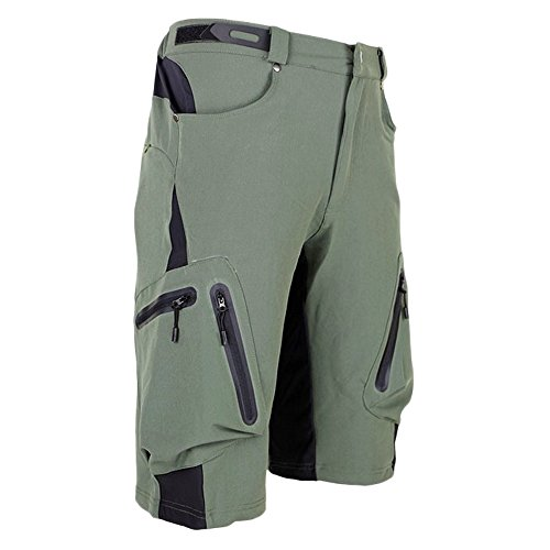 """ALLY Men's Waterproof MTB Baggy Cycling Shorts, Loose-fit Bicycle Biking 1/2 pants,Outdoor Sports Leisure Bottoms (XXL 36""""-38"""", Army Green)"""