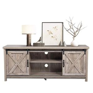 BWM.Co Farmhouse Wooden TV Stand, Modern Style TV Console w/Cabinet Storage Shelves Sliding Barn Wood for TVs up to 60…