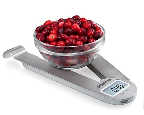 Gourmia GKS9165 Stainless Steel Folding Scale Compact Electronic Kitchen Scale With Hanger Hook & Tare Function - Battery Included
