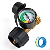 SHINESTAR Propane Tank Gauge Level Indicator Leak Detector Pressure Meter Color Coded for Gas Grills, RVs, Boats, Heater and Type 1 Connection Propane Cylinder