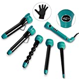 Entil 5 in 1 Curling Iron Wand Set with 5 Interchangeable Ceramic Barrels, 0.3-1.25 Inch Clip Dual Voltage, 3/4 Inch Clipless, Bubble, Pearl, Tapered Hair Curler for Mother's Day gift