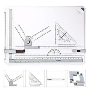 GOCHANGE Drawing Board, A3 Drawing Tool Set Multi-Funtion Drawing Board Table Graphic Architectural Drawing Board with Clear Rule Parallel Motion and Adjustable Measuring System Angle