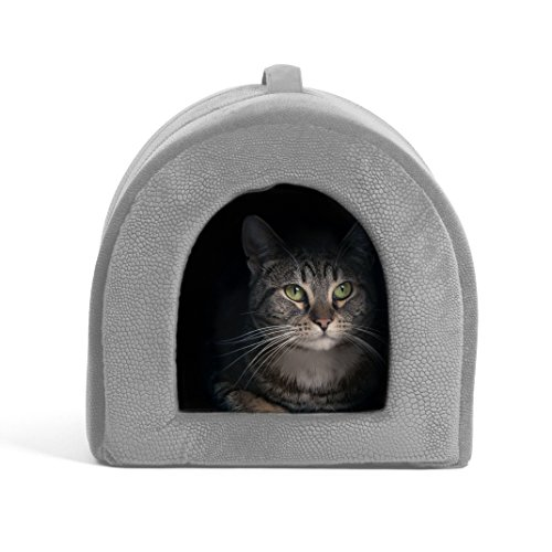 """Best Friends by Sheri Pet Igloo Hut, ilan, Gray - Cat and Small Dog Bed Offers Privacy and Warmth for Better Sleep - 17x13x12"""" - For Pets 9lbs or Less"""
