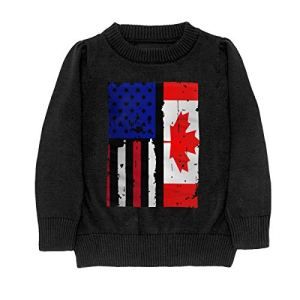 HJKNF58Q Canada American USA Flag Pride Sweater Youth Kids Funny Crew Neck Pullover Sweatshirt