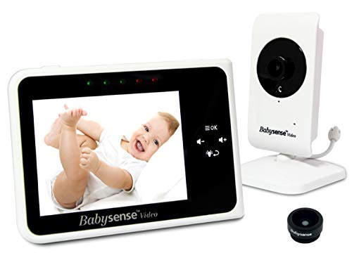 Babysense Video Baby Monitor 3.5 Inch Screen - Wide Angle Lens Included, Night Vision, Talk Back, Room Temperature, Lullabies, White Noise, Long Range and Battery Life