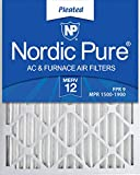 Nordic Pure 20x25x2 MERV 12 Pleated AC Furnace Air Filters, 20x25x2, 3 Pack