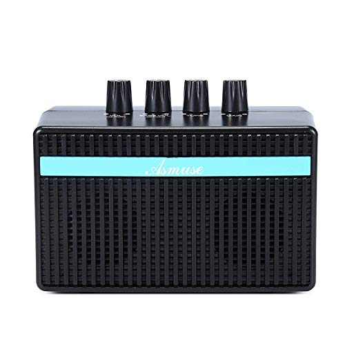 Bass amp Mini Bass Combo 3W Bass Guitar Amplifier with Distortion Effect and Headphone Jack for Practicing - With Aux-in Cord/USB Charging Cable (Battery Included)