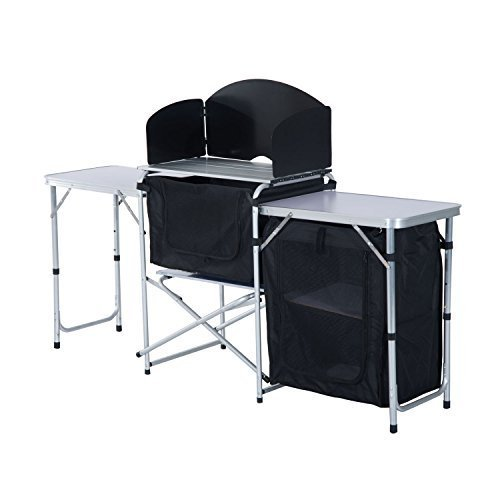 Outsunny Portable Fold-up Camp Kitchen with Windscreen, 6'
