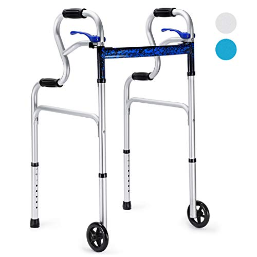 Health Line 3 in 1 Stand-Assist Folding Walker with Trigger Release and 5″ Wheels Supports up to 350 lbs, Compact Lightweight & Portable – w/Bonus Glides, Silver deal 50% off 414m3pfp1LL