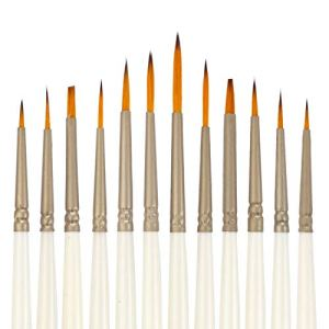 LANIAKEA Fine Detail Paint Brush – Set of 12 Artist Miniature Paint Brushes for Fine Detailing and Art Painting – Acrylic, Watercolor, Oil – Miniatures, Models, Airplane Kits, Nail 414pFU2hflL