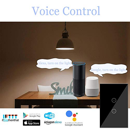Jinvoo-WiFi-Wall-Light-Touch-Panel-Switch-Remote-Control-with-Smart-PhoneNo-Hub-Required-AC-110-240V-Compatiable-with-Alexa-Echo-Works-with-Google-Home-2gang-2pack-Black
