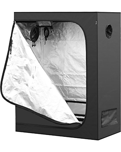 iPower 48'x24'x60' Hydroponic Water-Resistant Grow Tent with Removable Floor Tray for Indoor Seedling Plant Growing, 2'x4'