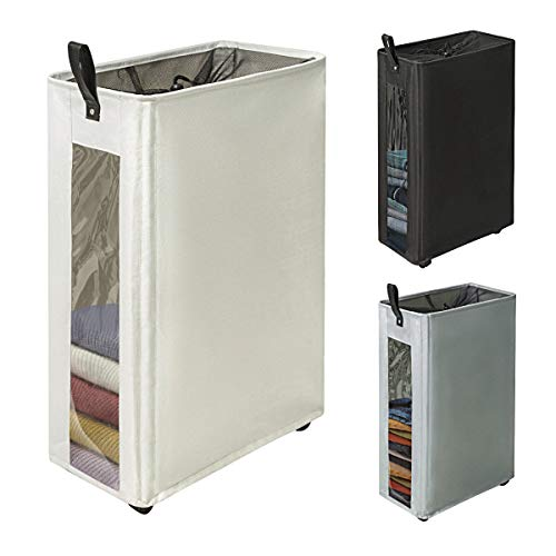 ZERO JET LAG 27' Slim Laundry Hamper Large Tall Laundry Basket on Wheels Clear Window Visible Dirty Clothes Hamper Thin Clothes Storage Standable Corner Bin Handy 16'×8.6'×27' Beige
