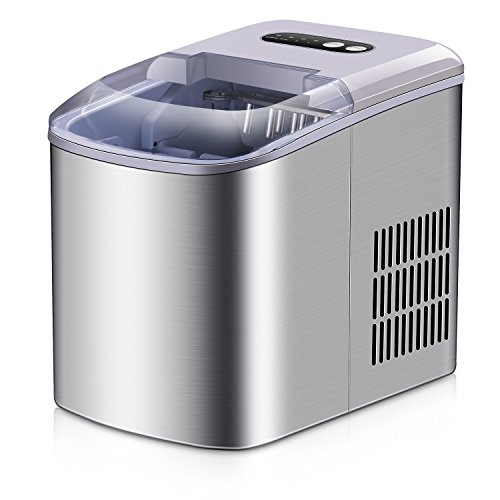 Portable Ice Maker - Stainless Steel Countertop Ice Maker Machine, Get 9 Ice Cubes in as quick as 6 Minutes,Makes Over 26 lbs of Ice per Day